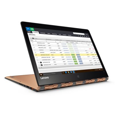 Lenovo Yoga 900 displaying the Inventory module on the RazorERP cloud solution.