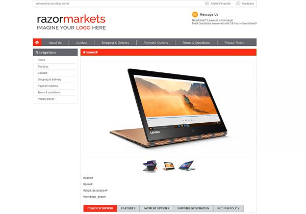 Check out M2E Pro Listing Template 1 used for selling on eBay like a pro. Built with love by RazorERP.