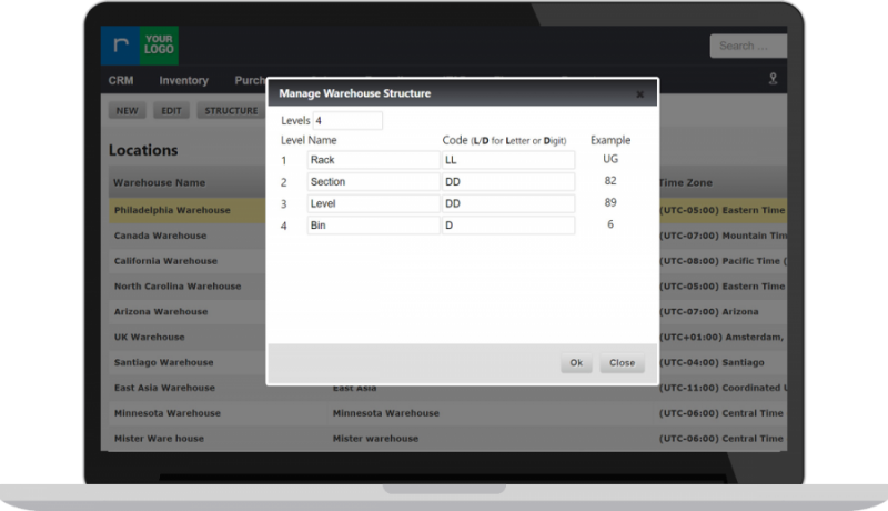 Manage your warehouse structure in global configuration settings in RazorERP recycling software.